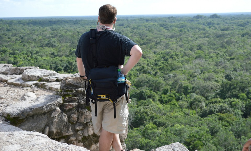 Admiring-the-view-from-the-top-of-Coba-Ruins-in-Mexico